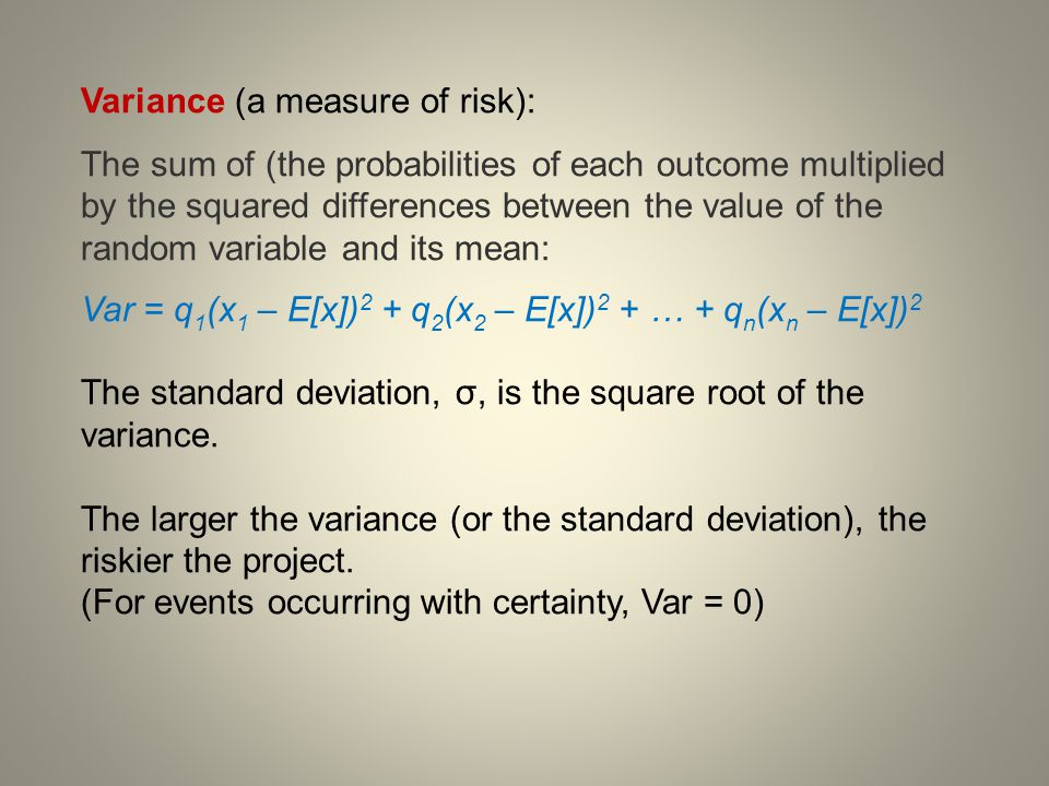 Variance (a measure of risk):