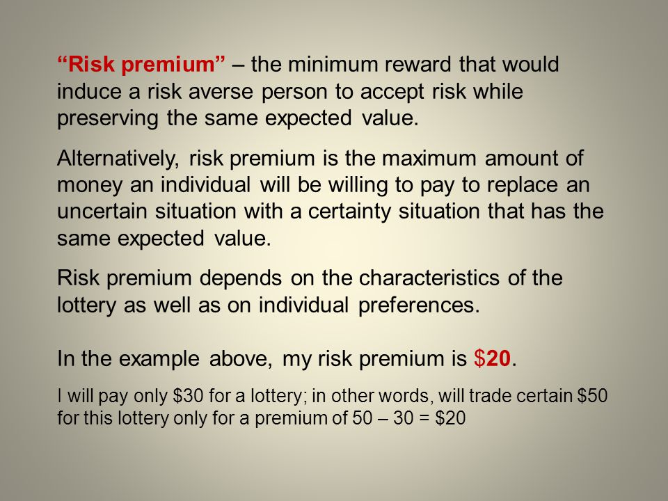 In the example above, my risk premium is $20.