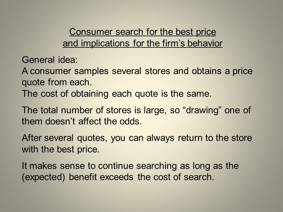Consumer search for the best price and implications for the firm's behavior