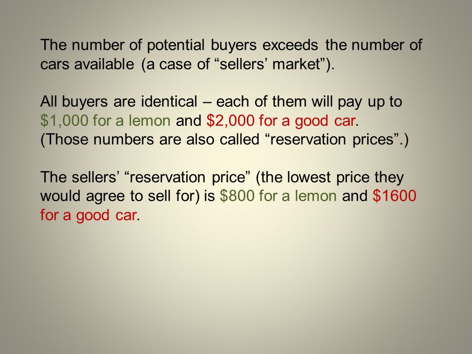 The number of potential buyers exceeds the number of cars available (a case of sellers' market ).