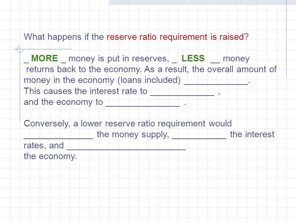 What happens if the reserve ratio requirement is raised