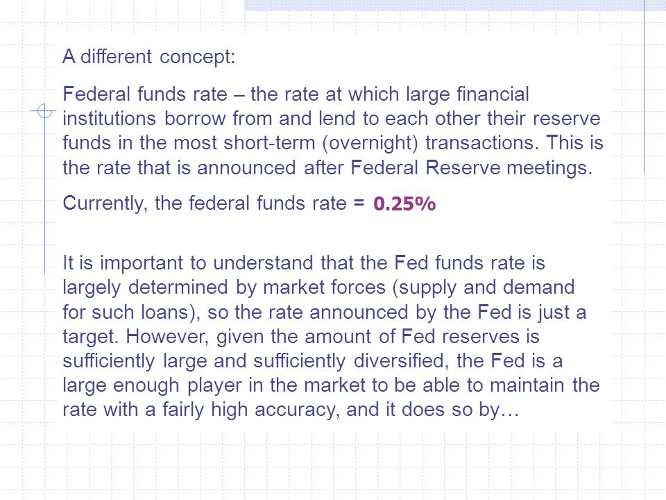 Currently, the federal funds rate = ….
