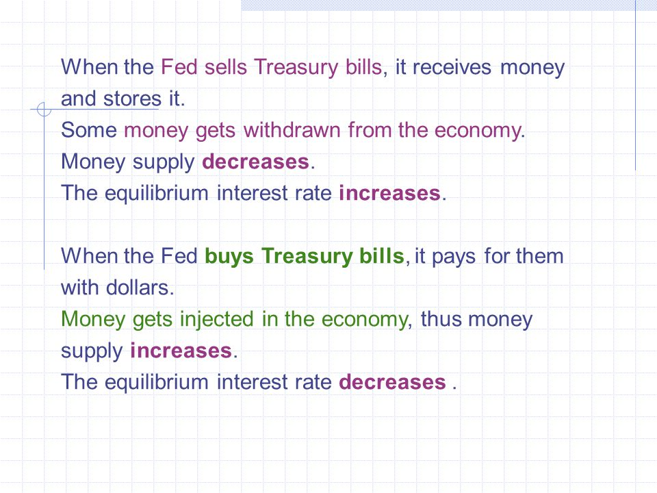 When the Fed sells Treasury bills, it receives money and stores it.