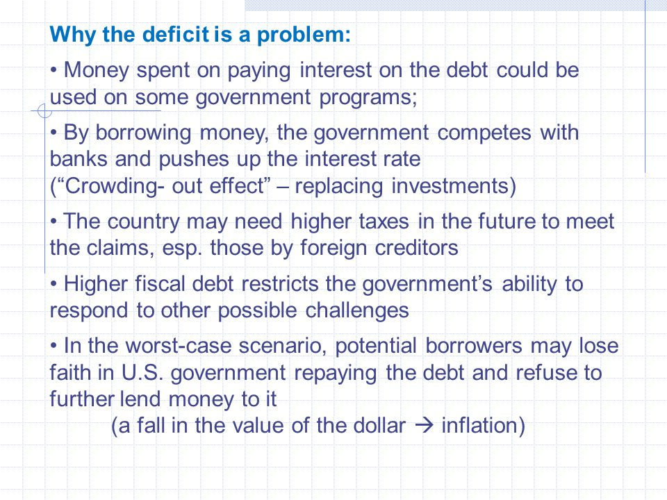 Why the deficit is a problem: