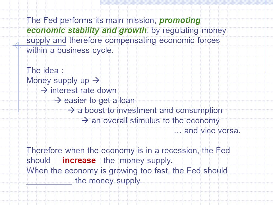 The Fed performs its main mission, promoting economic stability and growth, by regulating money supply and therefore compensating economic forces within a business cycle.