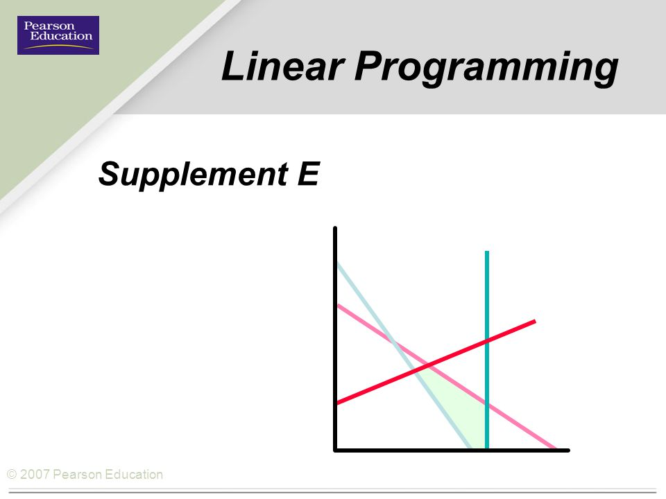 Linear Programming Supplement E 1
