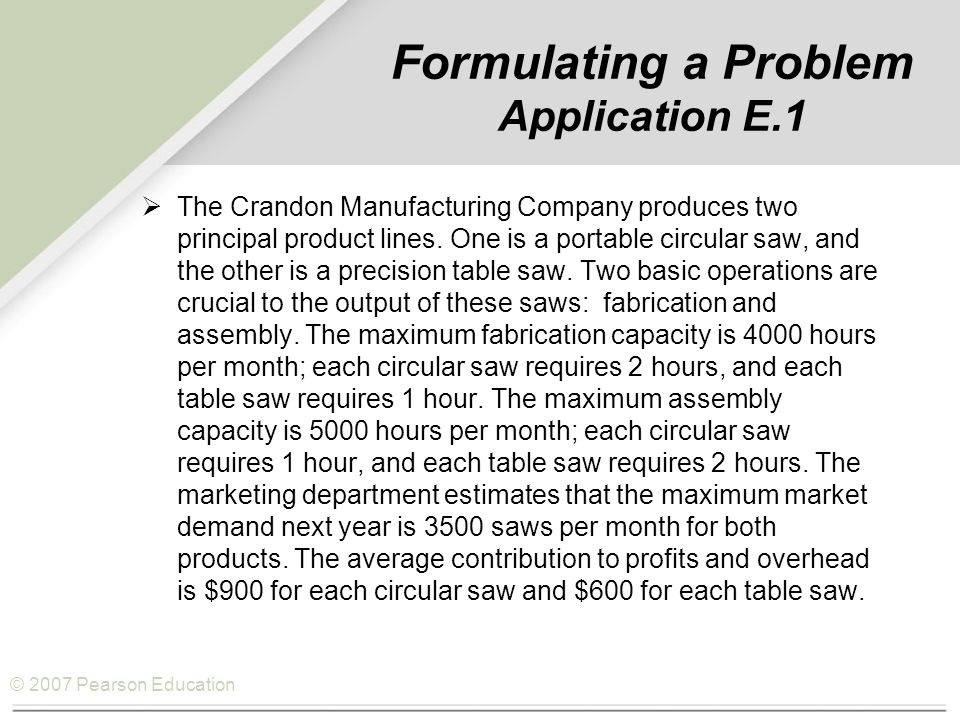 Formulating a Problem Application E.1