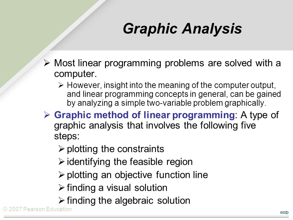 Graphic Analysis Most linear programming problems are solved with a computer.
