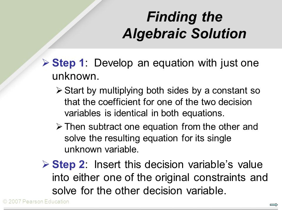 Finding the Algebraic Solution