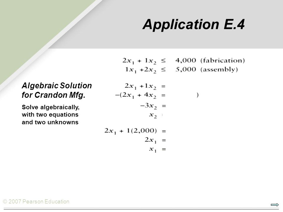 Algebraic Solution for Crandon Mfg.