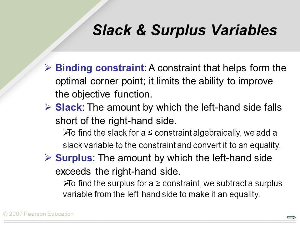 Slack & Surplus Variables