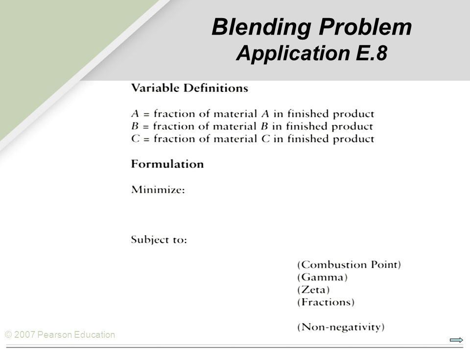 Blending Problem Application E.8