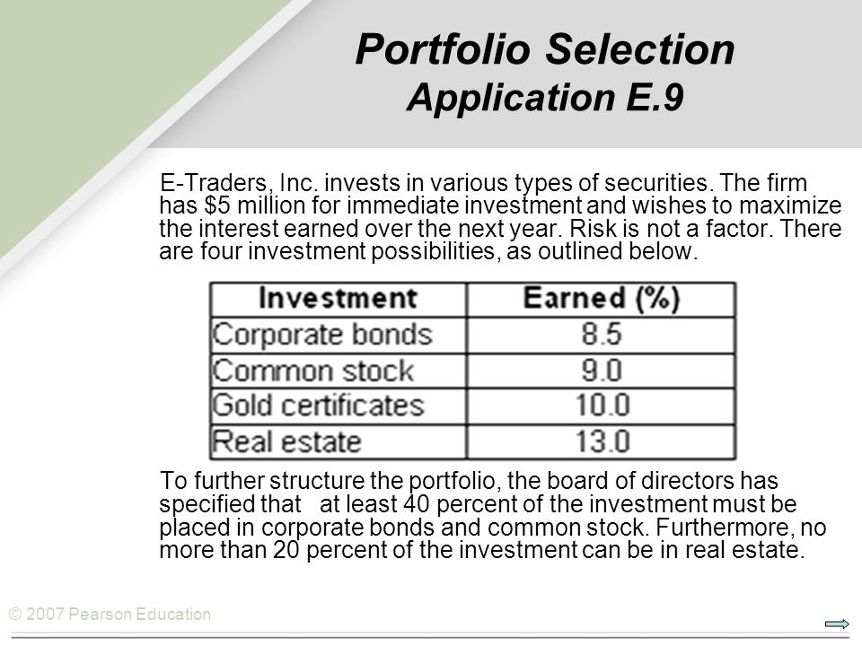 Portfolio Selection Application E.9