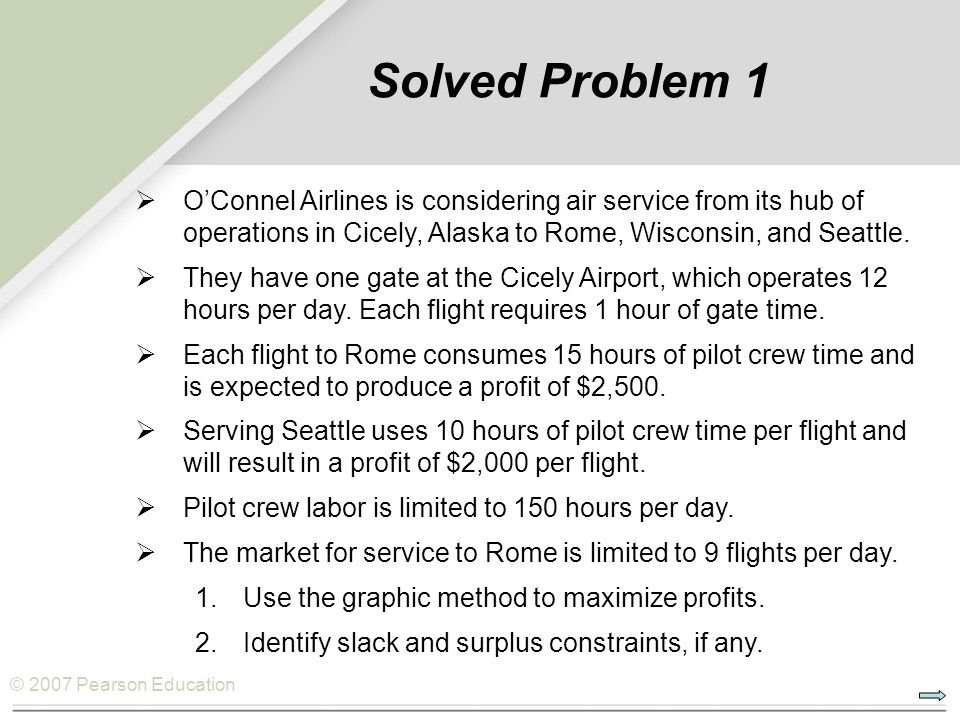 Solved Problem 1 O'Connel Airlines is considering air service from its hub of operations in Cicely, Alaska to Rome, Wisconsin, and Seattle.