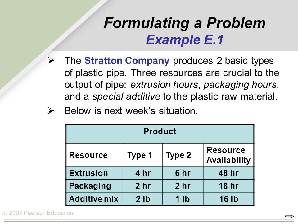Formulating a Problem Example E.1