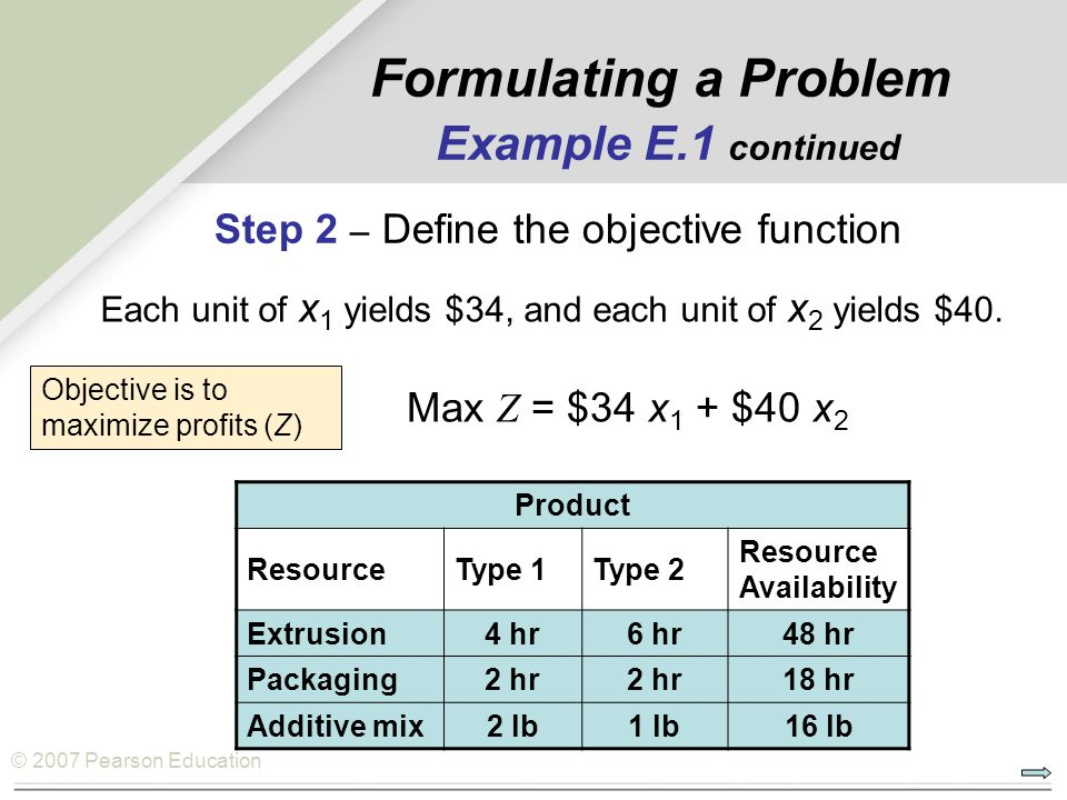Formulating a Problem Example E.1 continued