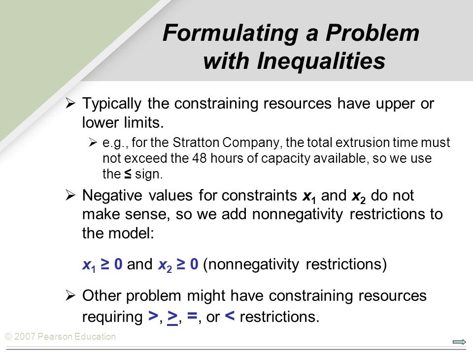 Formulating a Problem with Inequalities