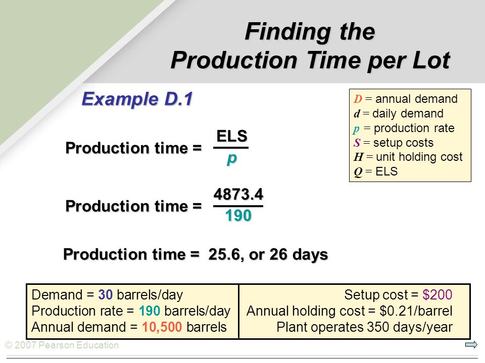 Production Time per Lot
