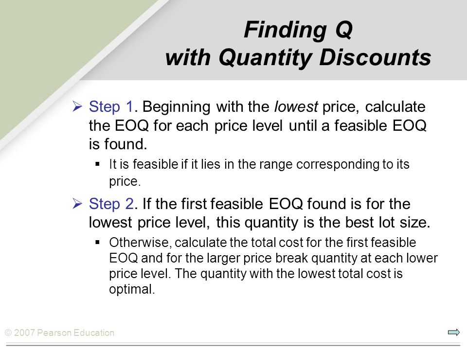 Finding Q with Quantity Discounts