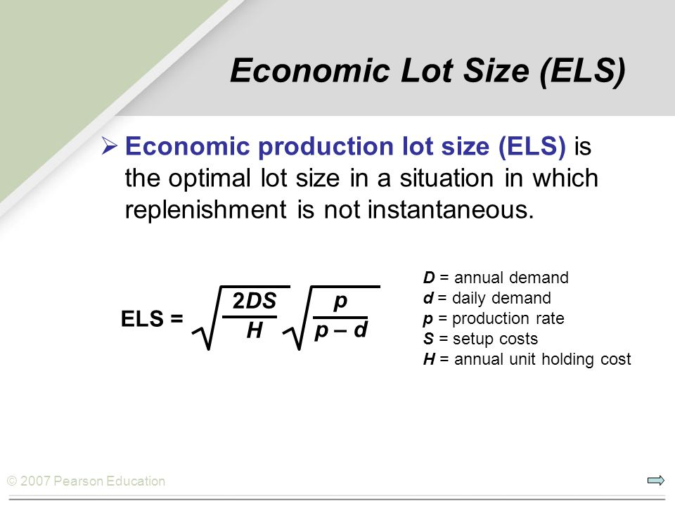 Economic Lot Size (ELS)