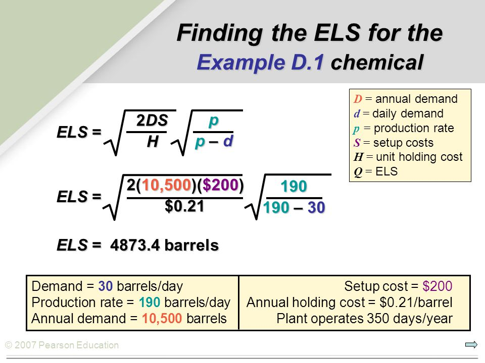 Finding the ELS for the Example D.1 chemical
