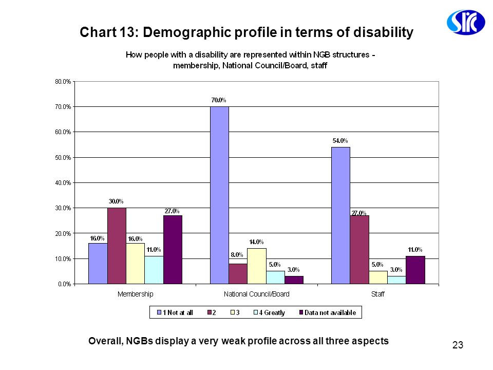 Chart 13: Demographic profile in terms of disability