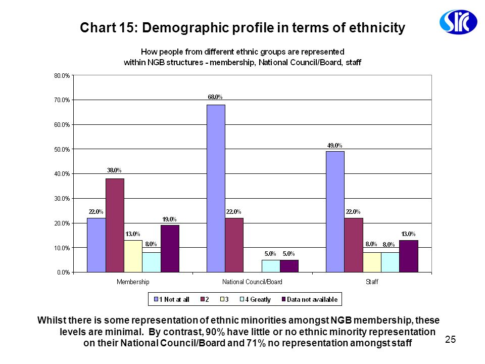 Chart 15: Demographic profile in terms of ethnicity