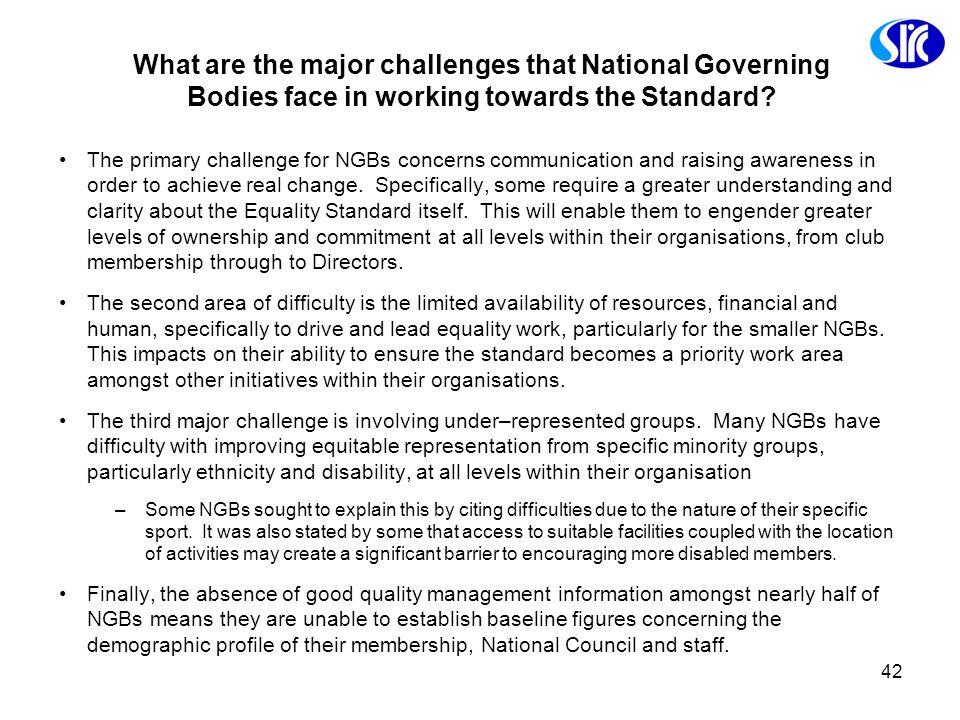 What are the major challenges that National Governing Bodies face in working towards the Standard