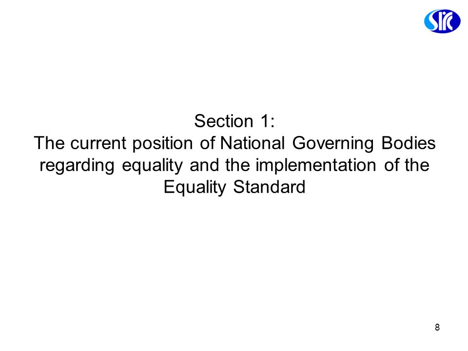 Section 1: The current position of National Governing Bodies regarding equality and the implementation of the Equality Standard