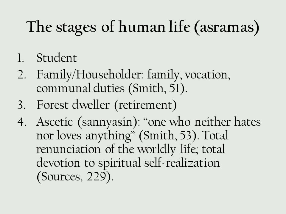The stages of human life (asramas)