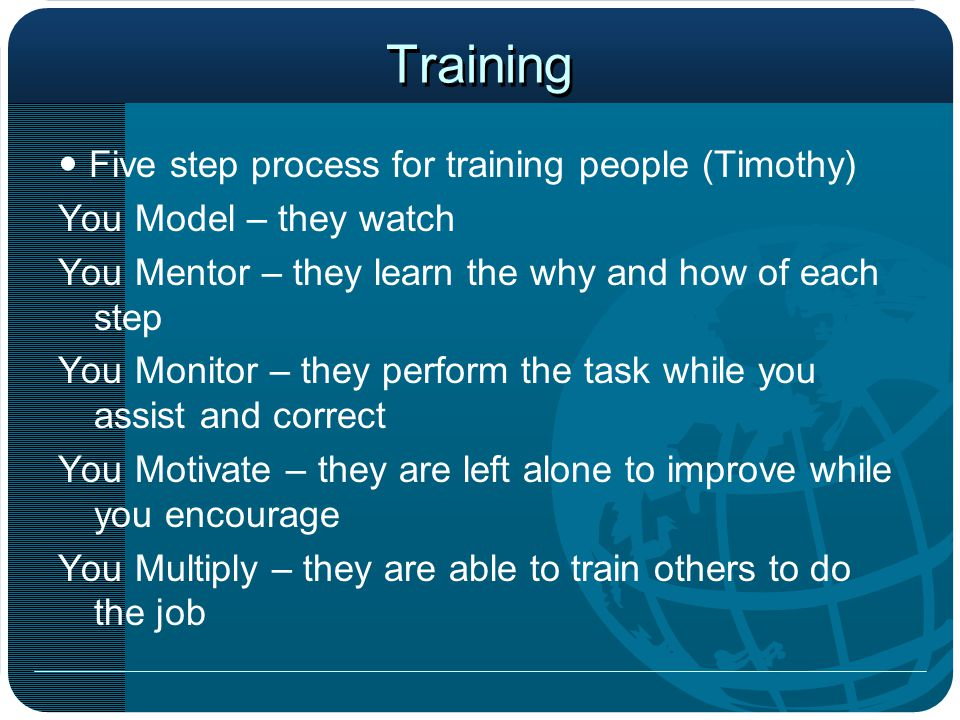 Training  Five step process for training people (Timothy)