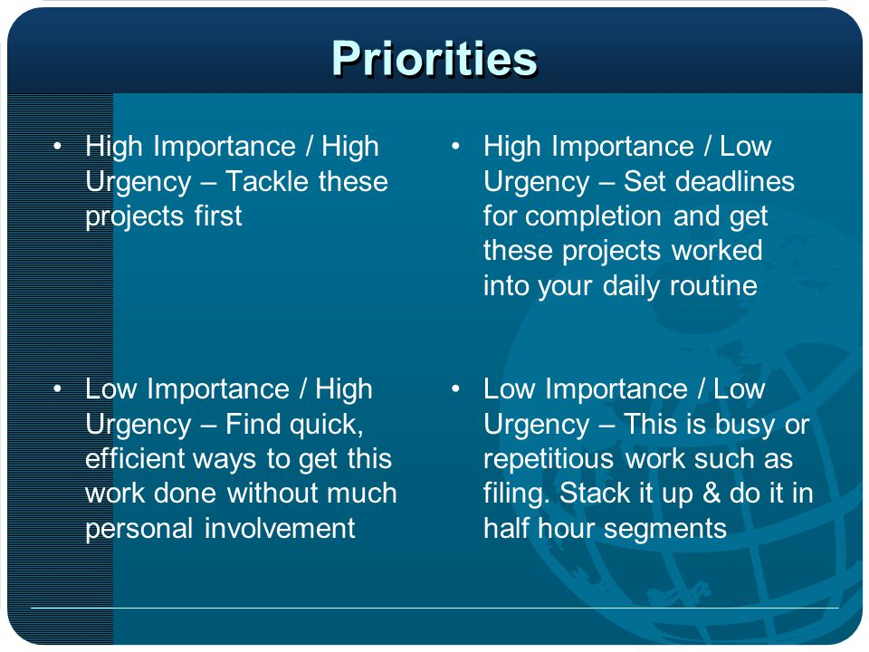 Priorities High Importance / High Urgency – Tackle these projects first.
