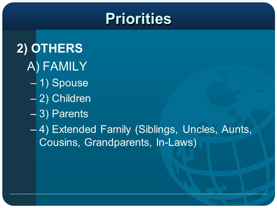 Priorities 2) OTHERS A) FAMILY 1) Spouse 2) Children 3) Parents
