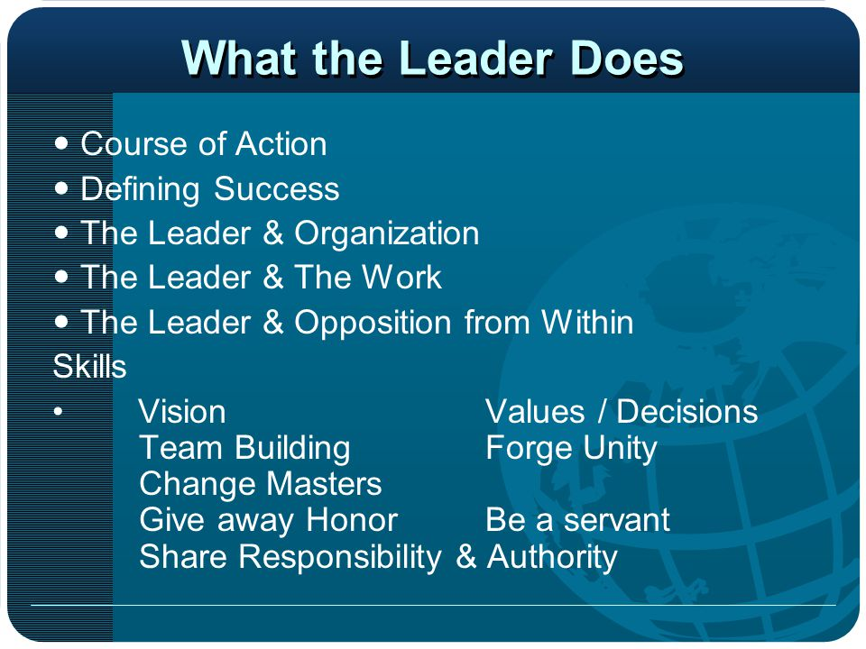What the Leader Does  Course of Action  Defining Success