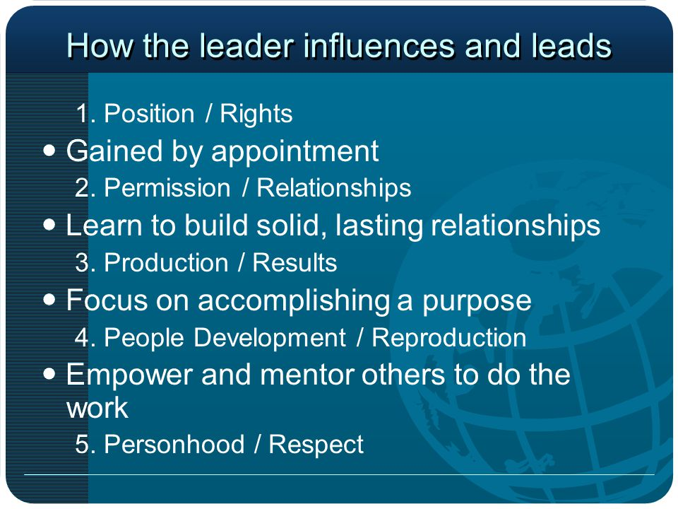 How the leader influences and leads