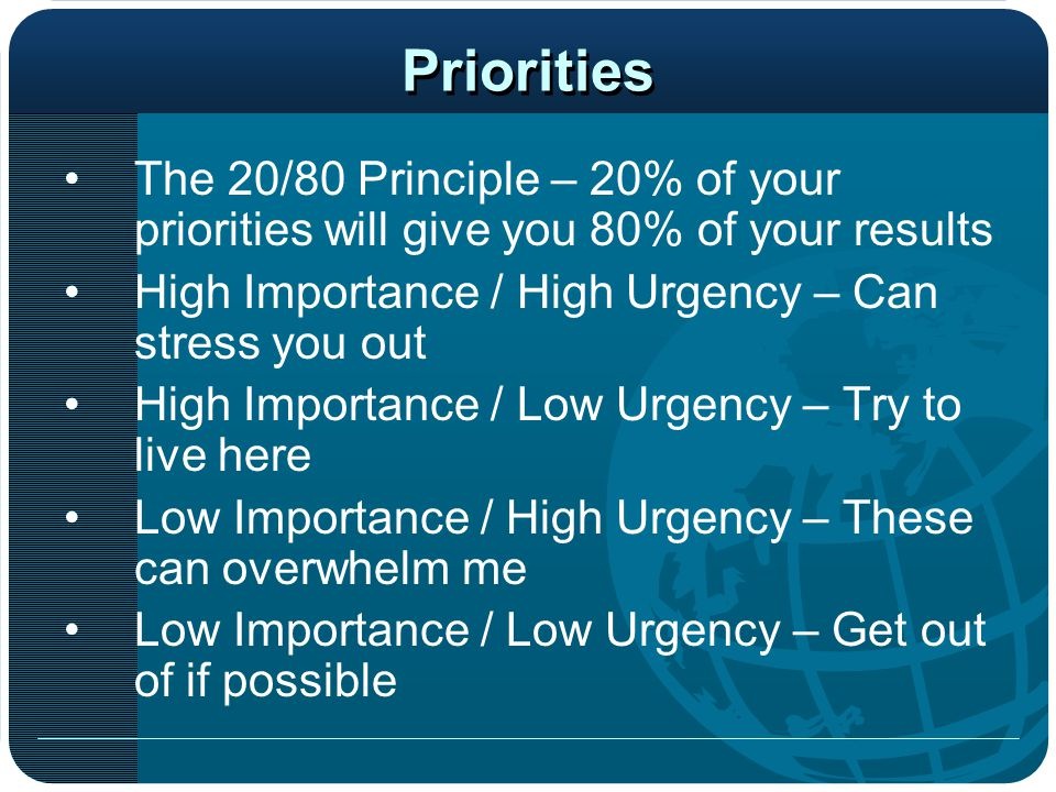 Priorities The 20/80 Principle – 20% of your priorities will give you 80% of your results. High Importance / High Urgency – Can stress you out.