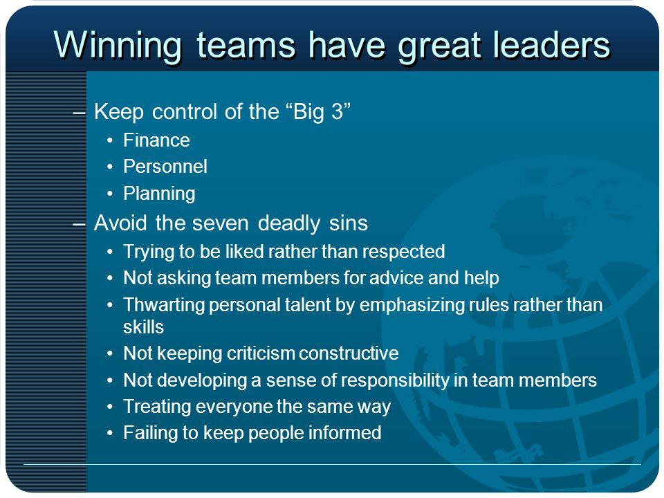 Winning teams have great leaders