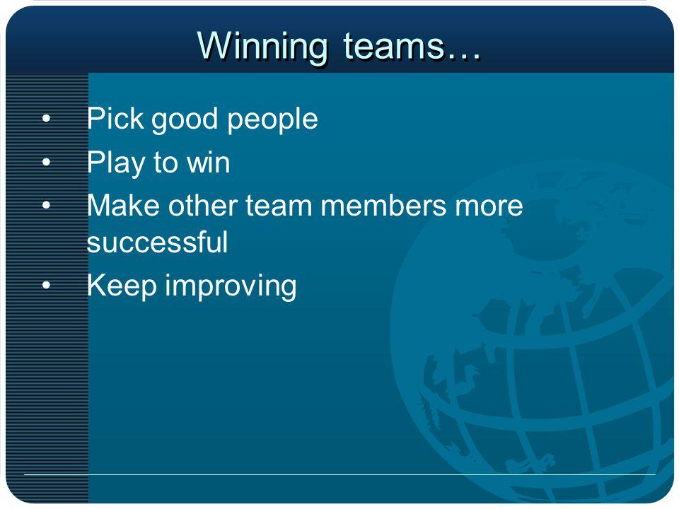 Winning teams… Pick good people Play to win