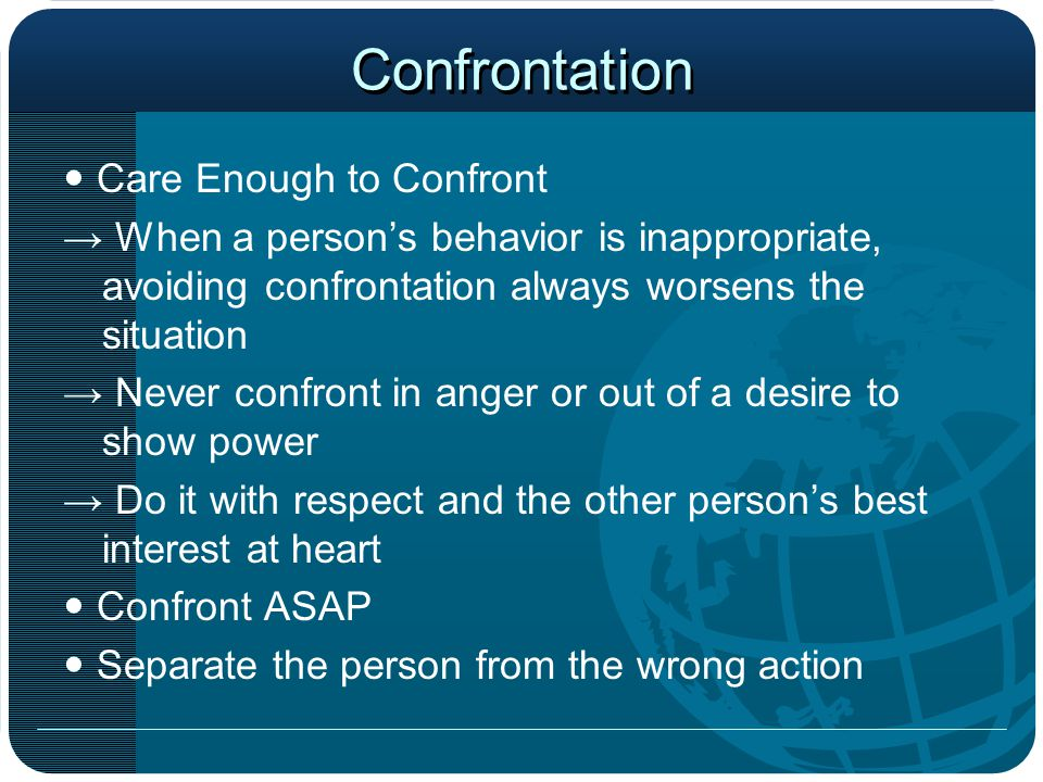 Confrontation  Care Enough to Confront
