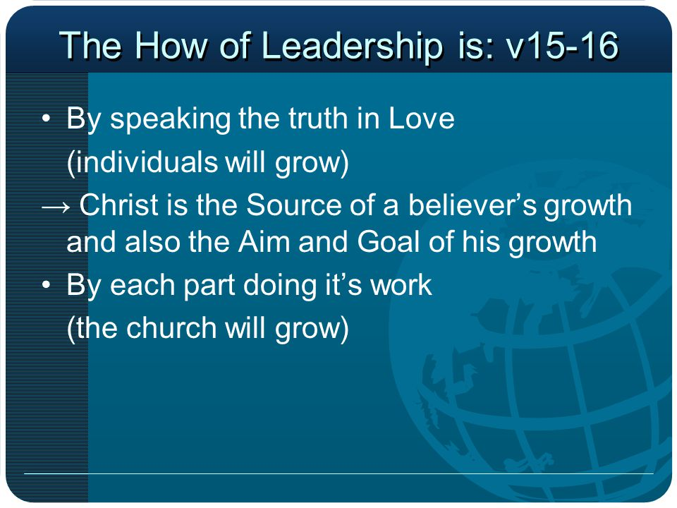 The How of Leadership is: v15-16