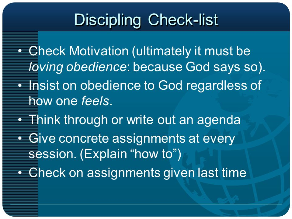 Discipling Check-list