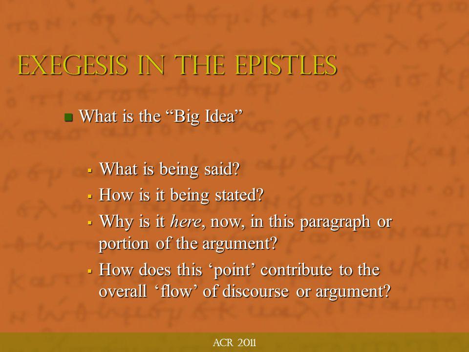 EXEGESIS in the Epistles