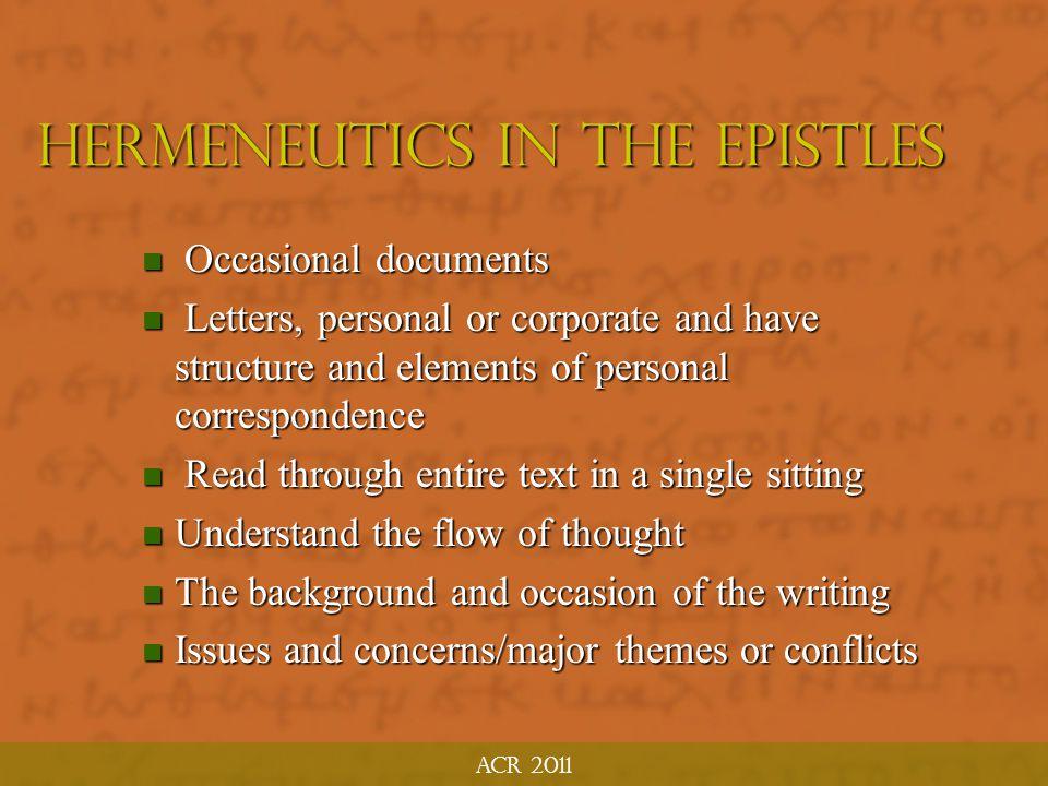 Hermeneutics in the Epistles