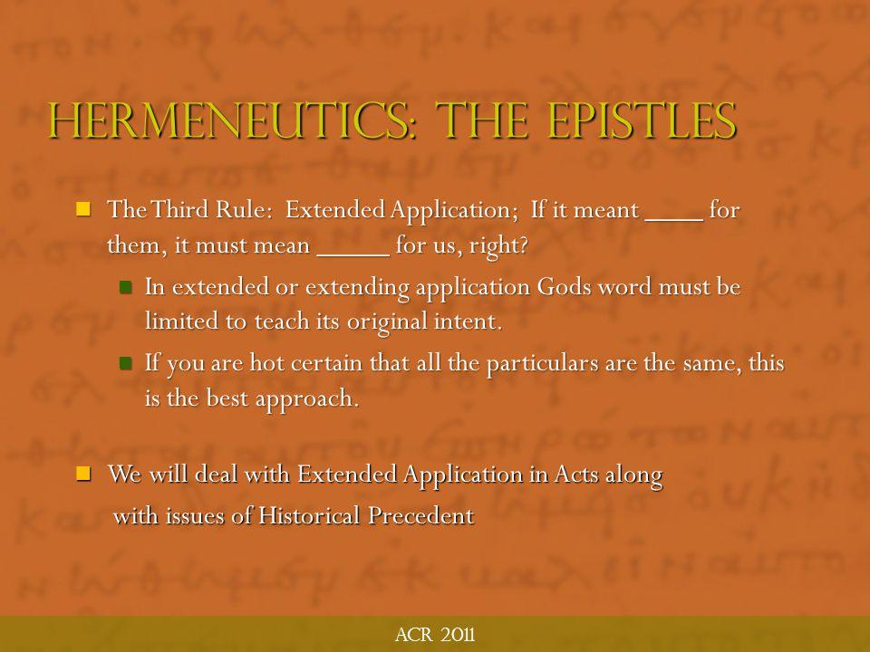 Hermeneutics: The Epistles