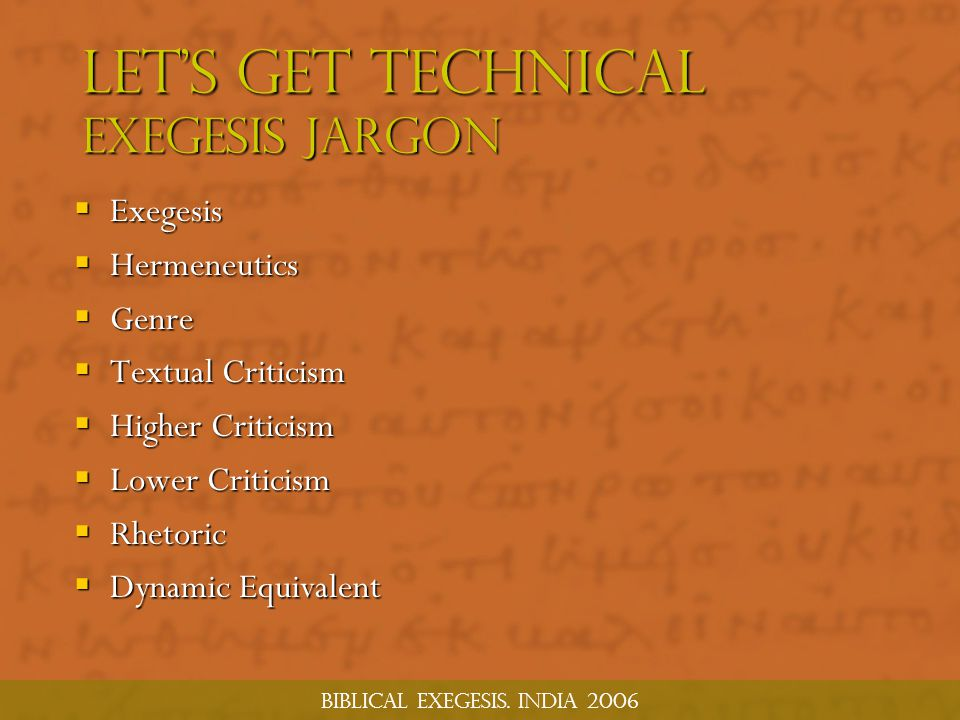 Let's Get Technical Exegesis jargon