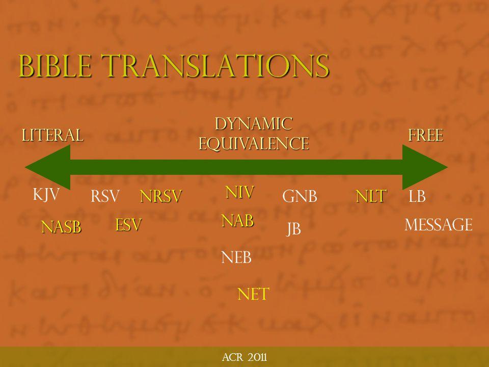 Bible Translations Dynamic Equivalence Literal Free KJV NIV RSV NRSV