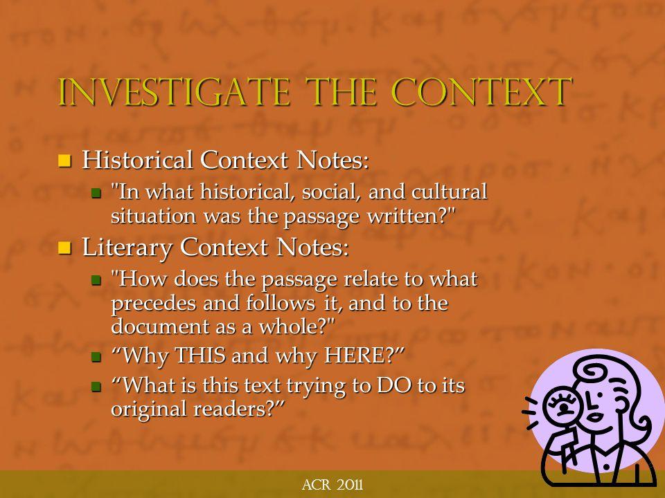 Investigate the Context