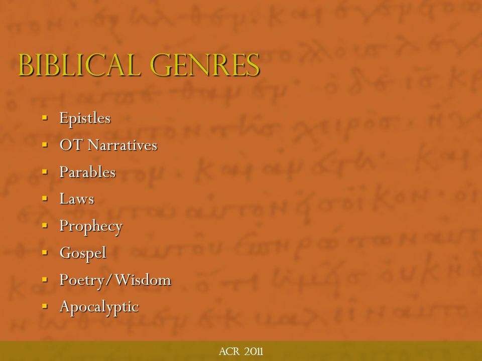 Biblical Genres Epistles OT Narratives Parables Laws Prophecy Gospel