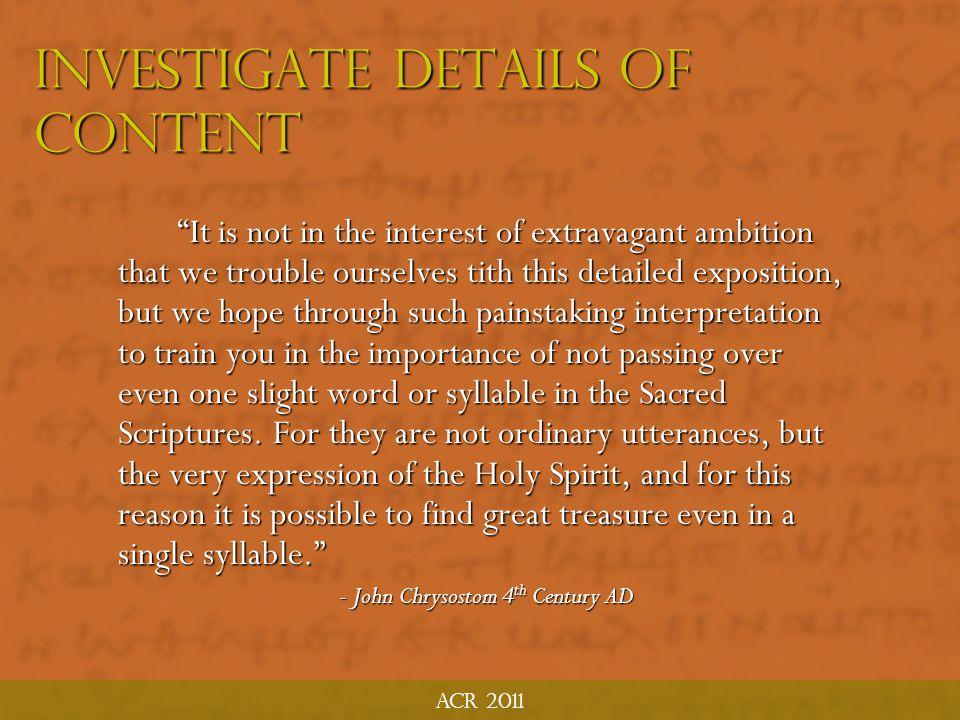 Investigate Details of Content