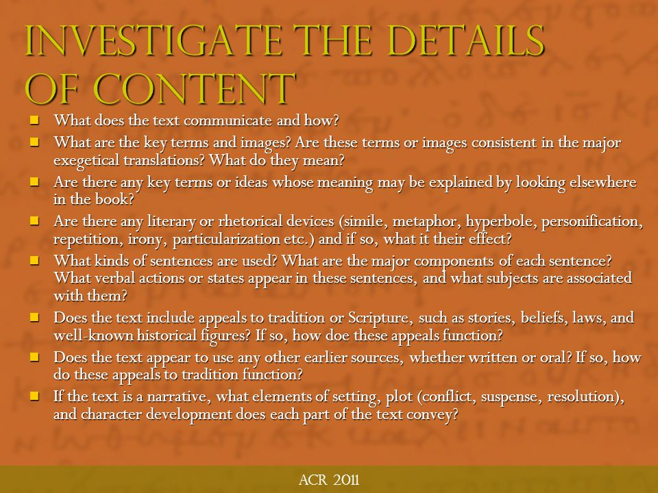 Investigate the Details of Content